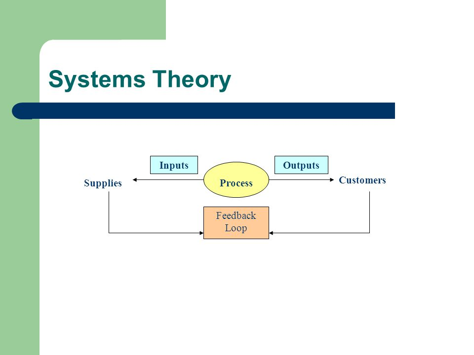 Systems Theory Inputs Outputs Supplies Process Customers Feedback Loop