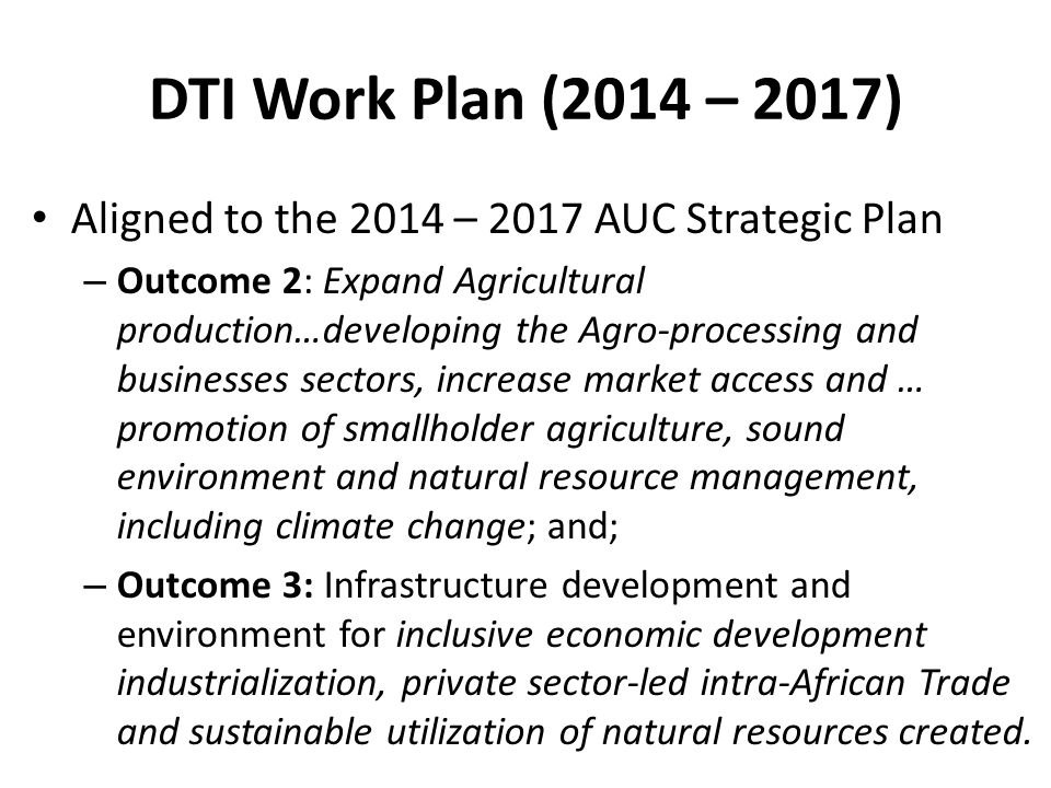 DTI Work Plan (2014 – 2017) Aligned to the 2014 – 2017 AUC Strategic Plan.