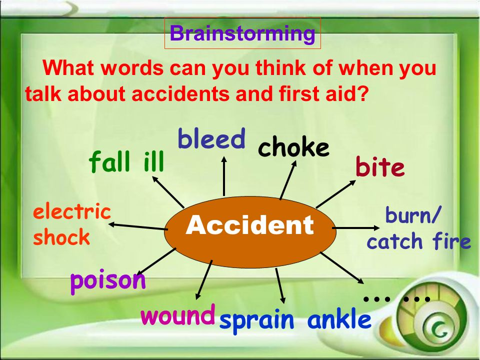 … … bleed choke fall ill Accident poison wound sprain ankle
