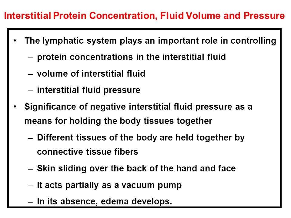 Interstitial Protein Concentration, Fluid Volume and Pressure