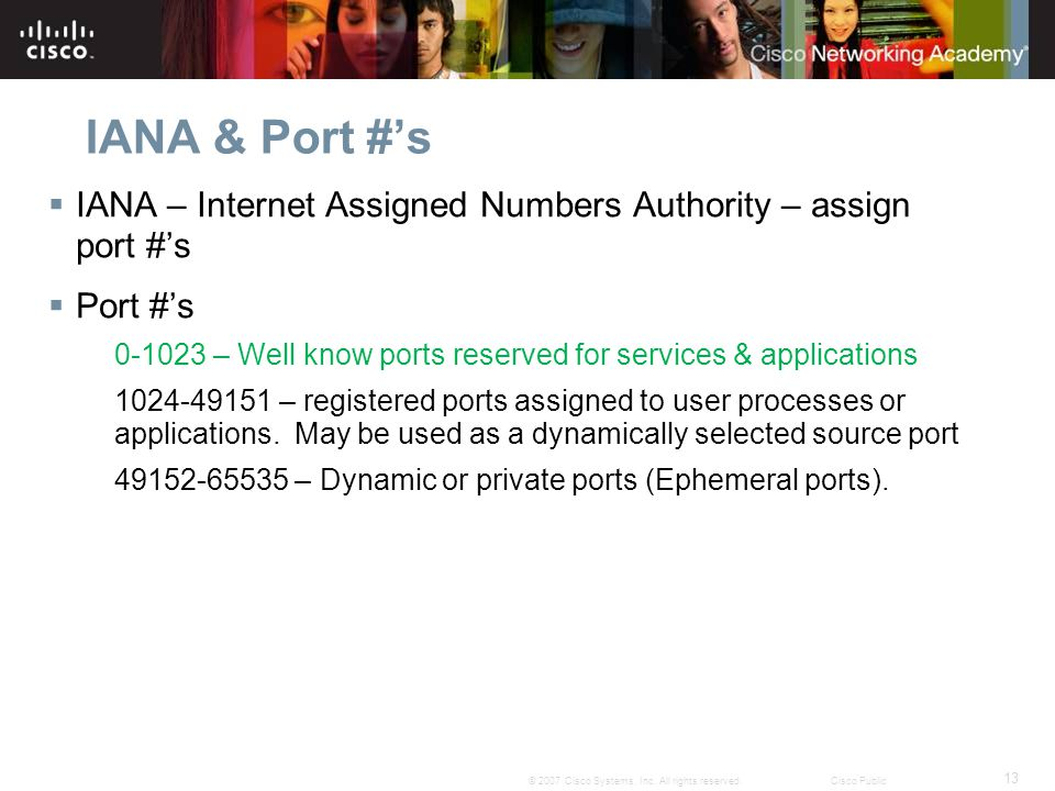 IANA & Port #'s IANA – Internet Assigned Numbers Authority – assign port #'s. Port #'s.