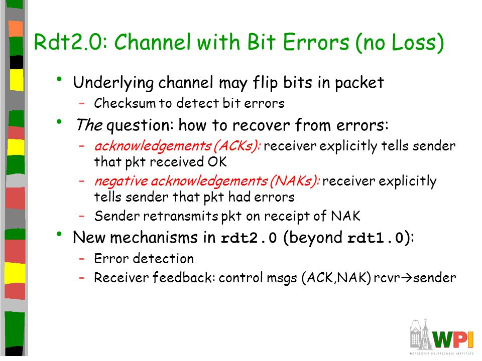Rdt2.0: Channel with Bit Errors (no Loss)