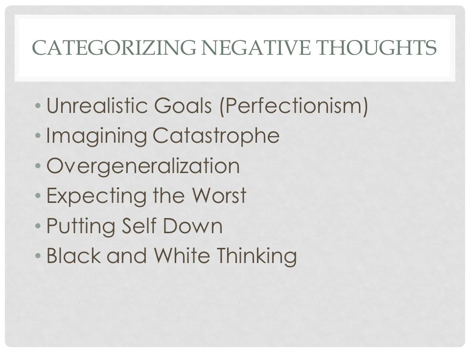 CATEGORIZING NEGATIVE THOUGHTS