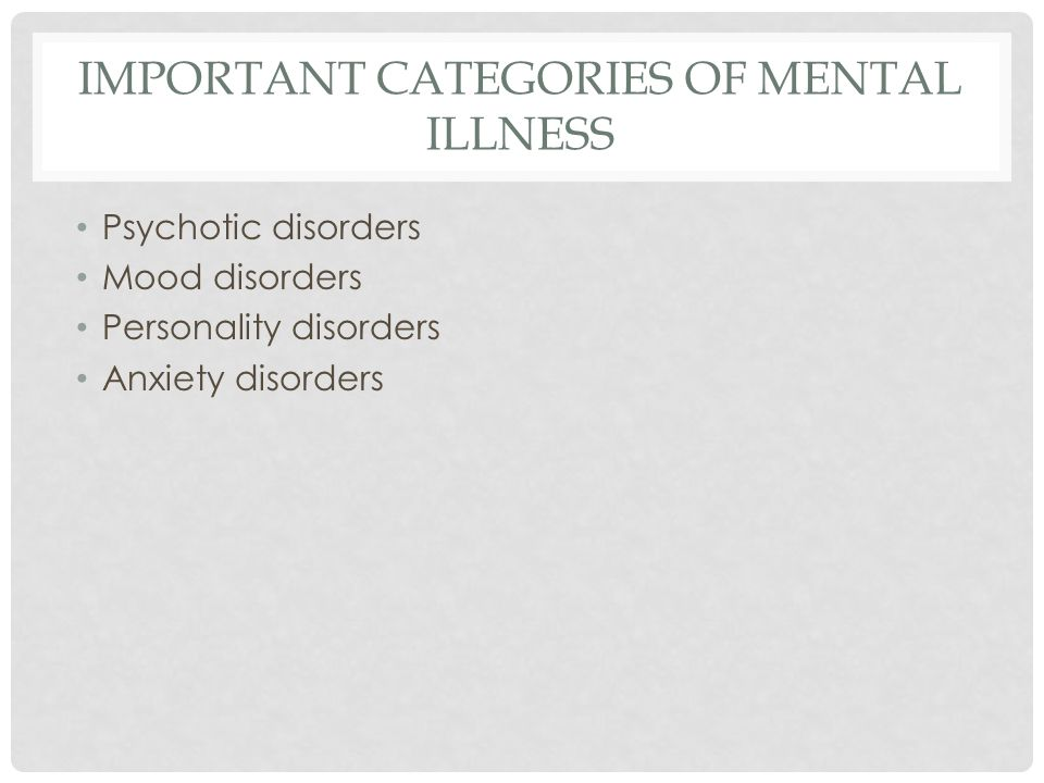 IMPORTANT CATEGORIES OF MENTAL ILLNESS