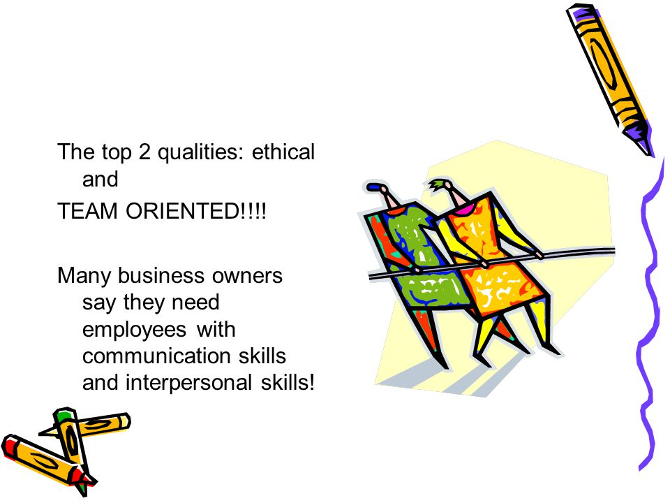 The top 2 qualities: ethical and
