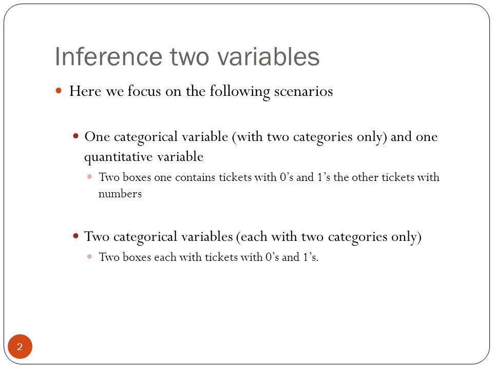 Inference two variables