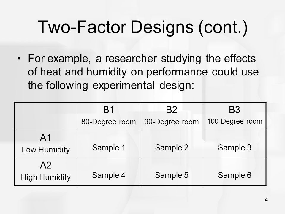 Two-Factor Designs (cont.)