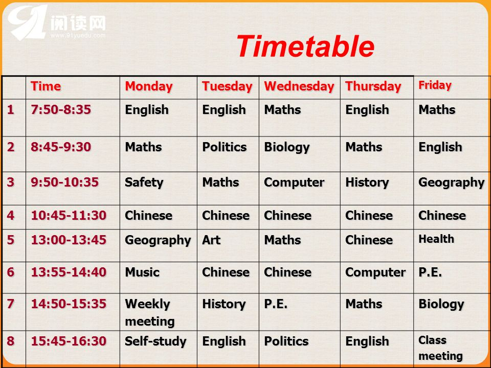 Timetable Time Monday Tuesday Wednesday Thursday 1 7:50-8:35 English