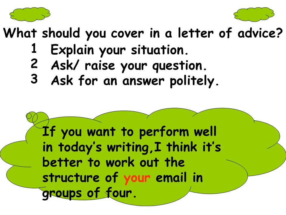 What should you cover in a letter of advice