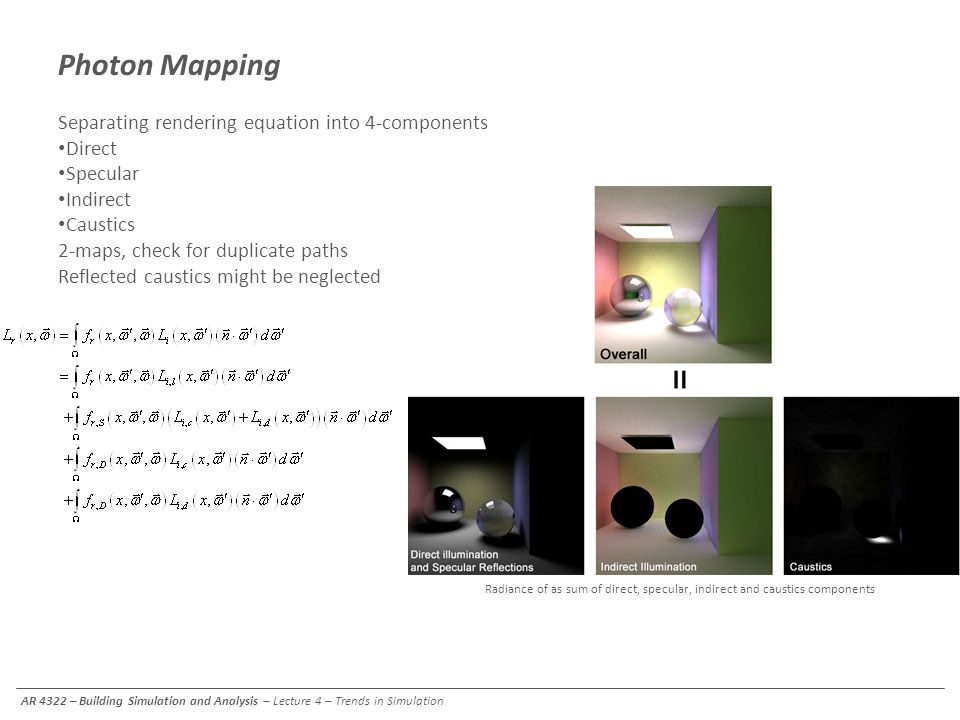 Photon Mapping Separating rendering equation into 4-components Direct
