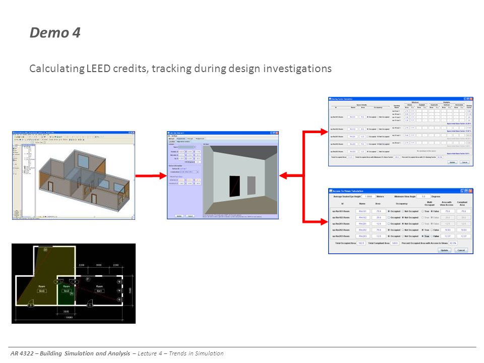 Demo 4 Calculating LEED credits, tracking during design investigations