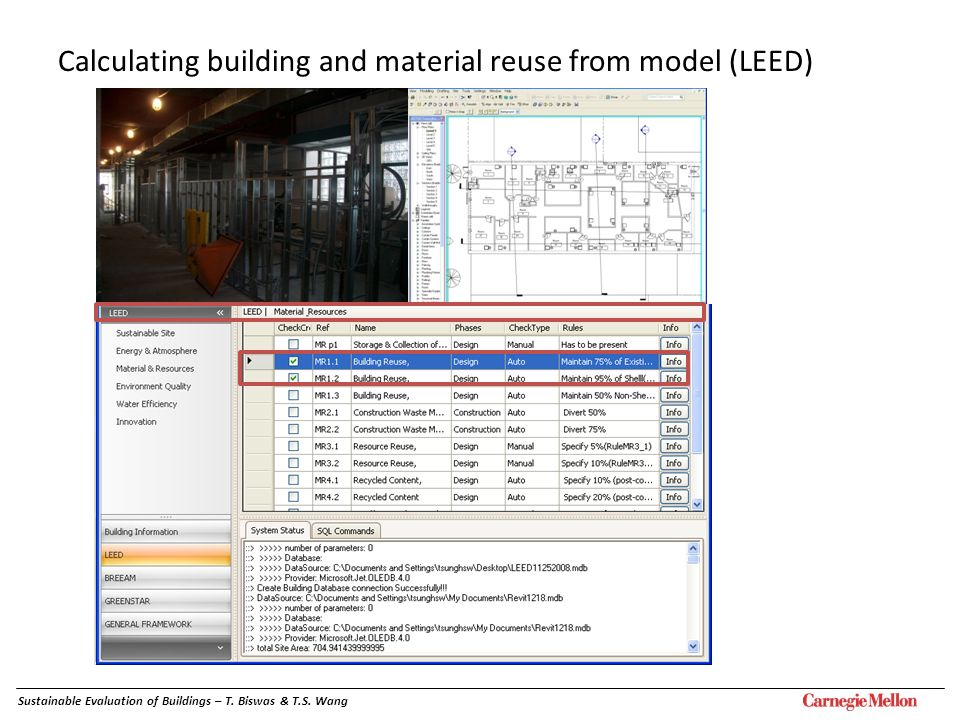 Calculating building and material reuse from model (LEED)