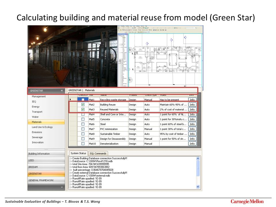 Calculating building and material reuse from model (Green Star)