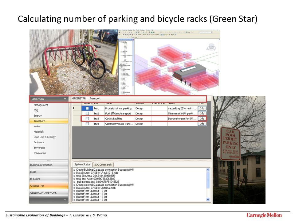 Calculating number of parking and bicycle racks (Green Star)