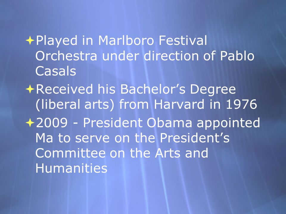 Played in Marlboro Festival Orchestra under direction of Pablo Casals