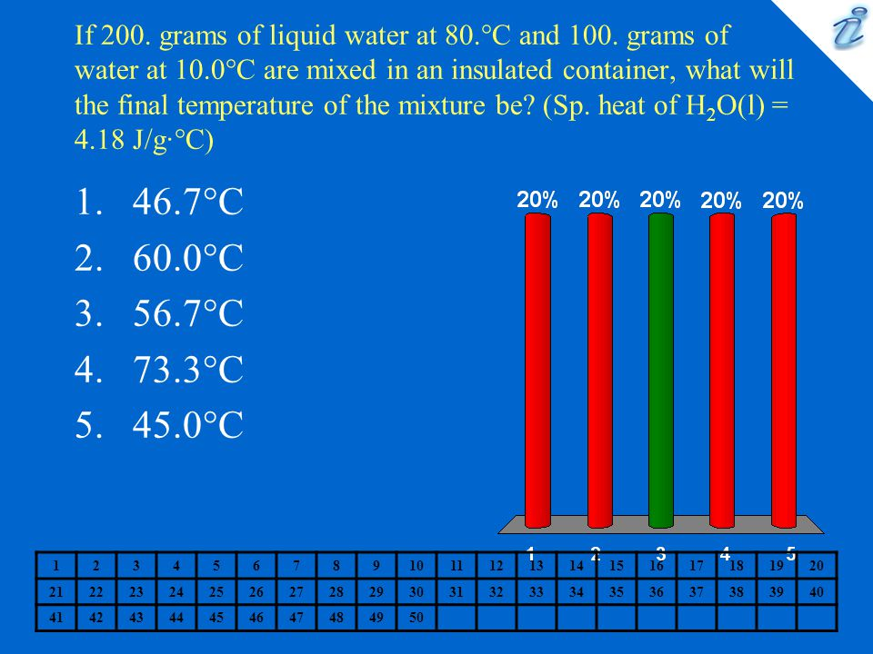 If 200. grams of liquid water at 80. °C and 100. grams of water at 10