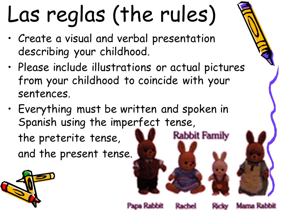Las reglas (the rules) Create a visual and verbal presentation describing your childhood.