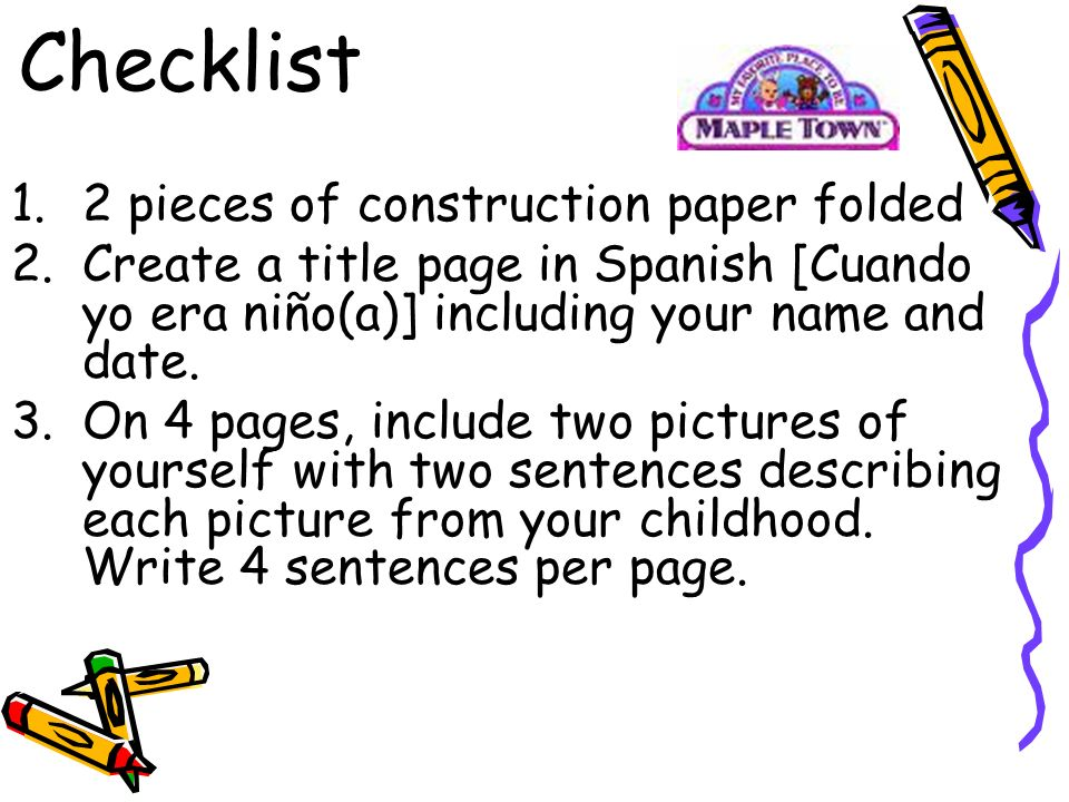 Checklist 2 pieces of construction paper folded