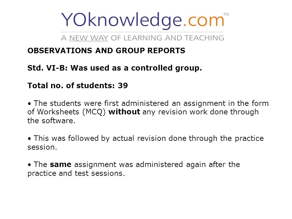 OBSERVATIONS AND GROUP REPORTS