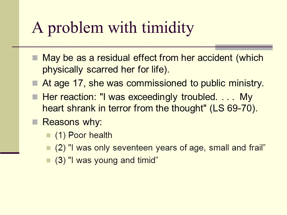 A problem with timidity