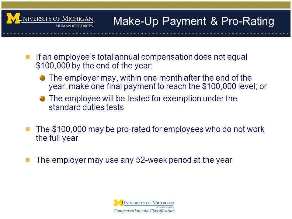 Make-Up Payment & Pro-Rating