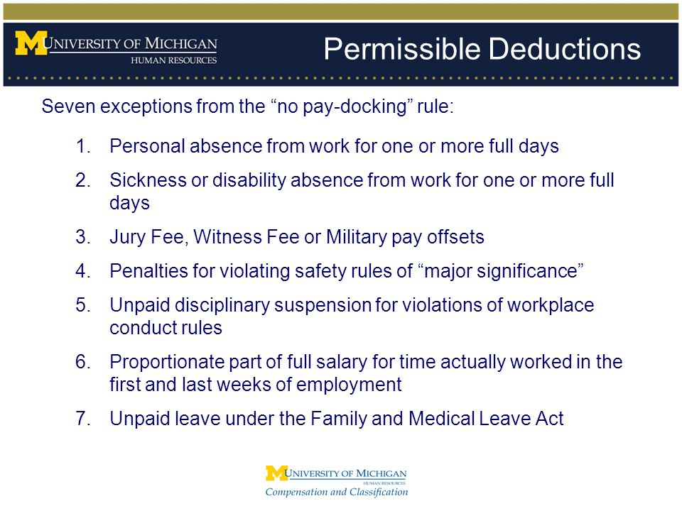 Permissible Deductions