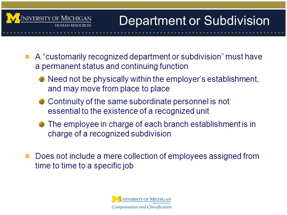 Department or Subdivision