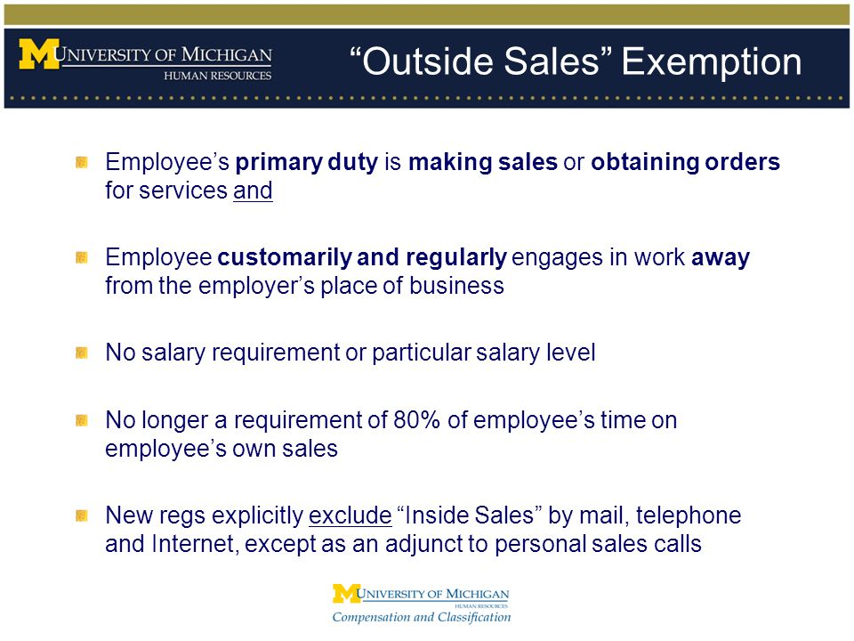 Outside Sales Exemption