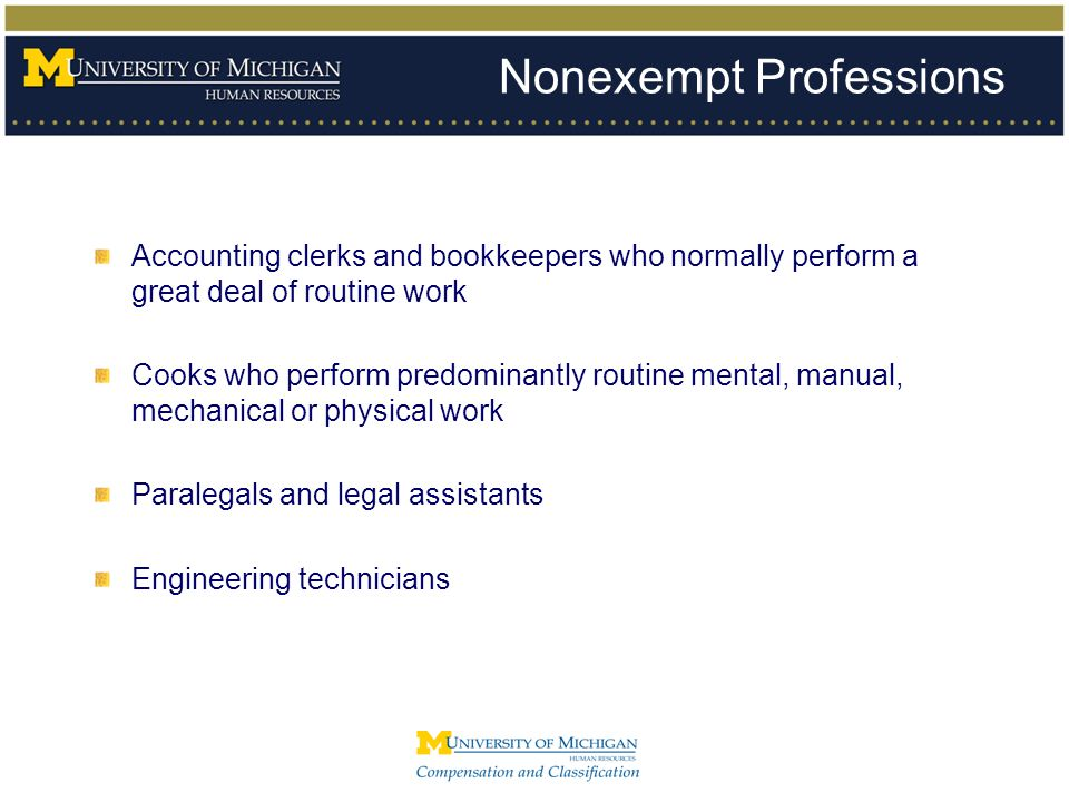 Nonexempt Professions