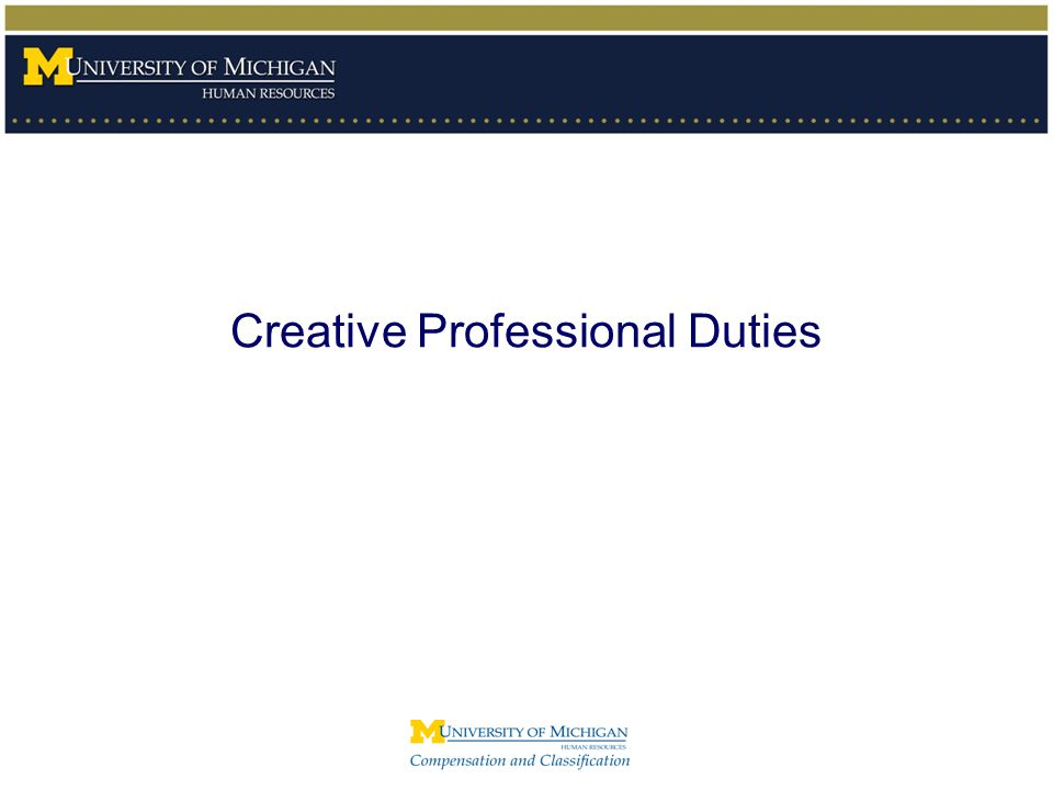 Creative Professional Duties