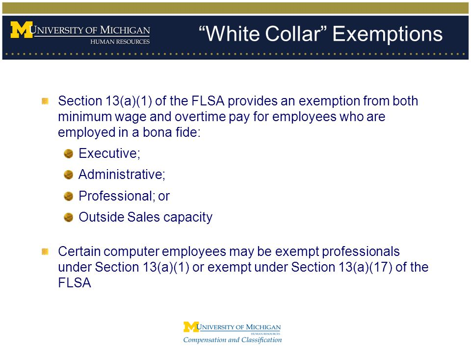 White Collar Exemptions