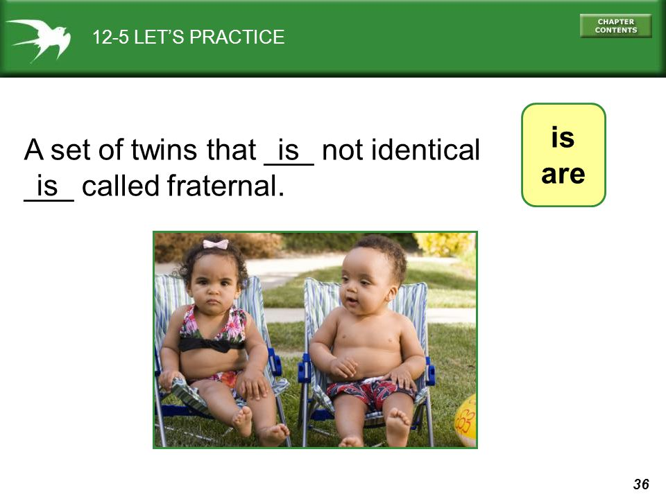 A set of twins that ___ not identical ___ called fraternal. is is