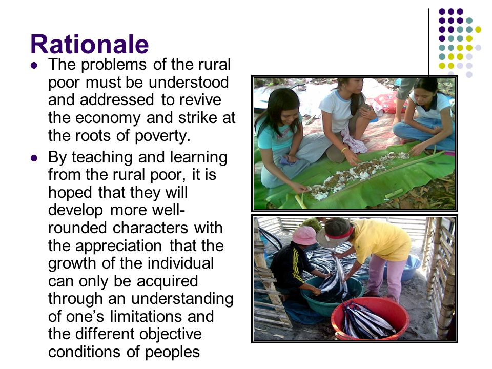 Rationale The problems of the rural poor must be understood and addressed to revive the economy and strike at the roots of poverty.