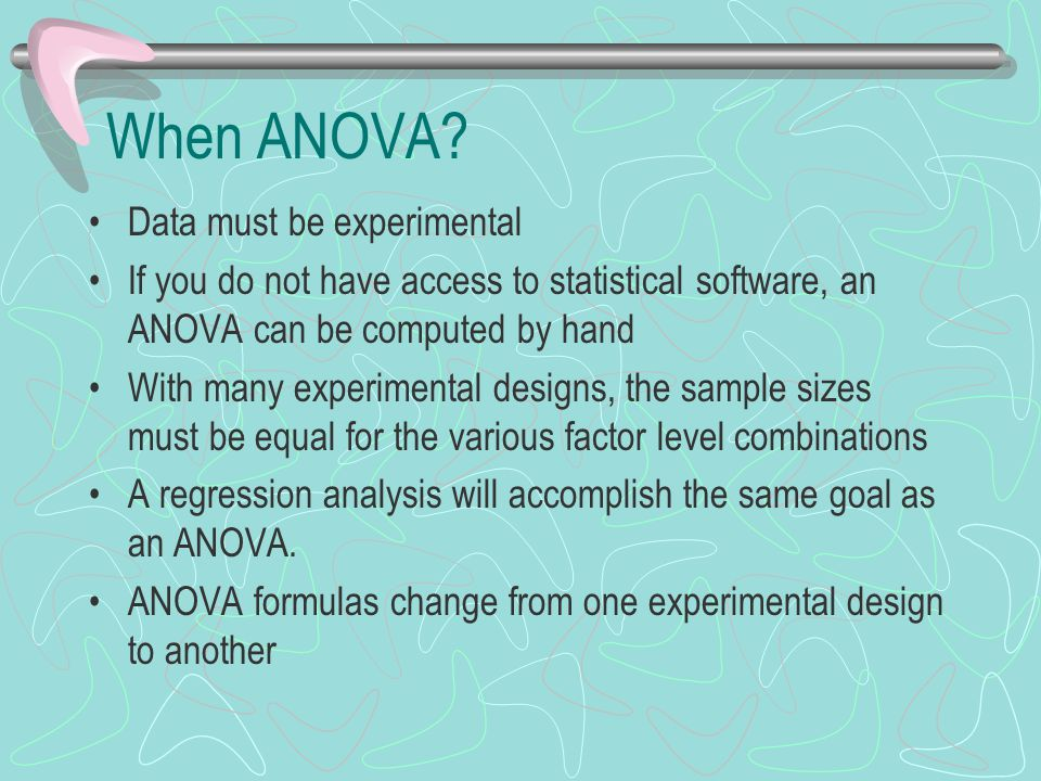 When ANOVA Data must be experimental