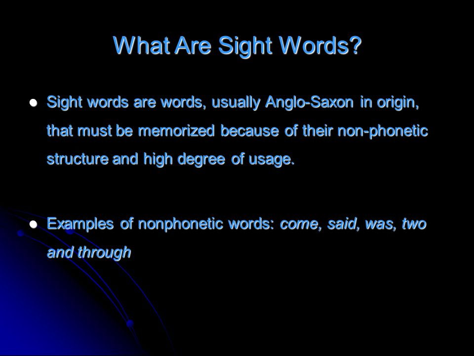 What Are Sight Words