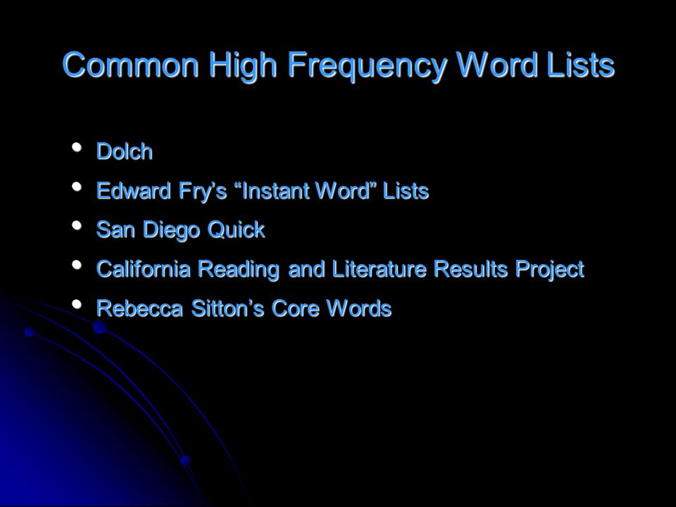 Common High Frequency Word Lists