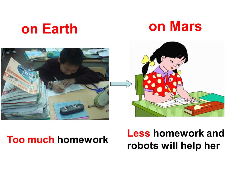 on Mars on Earth Less homework and robots will help her