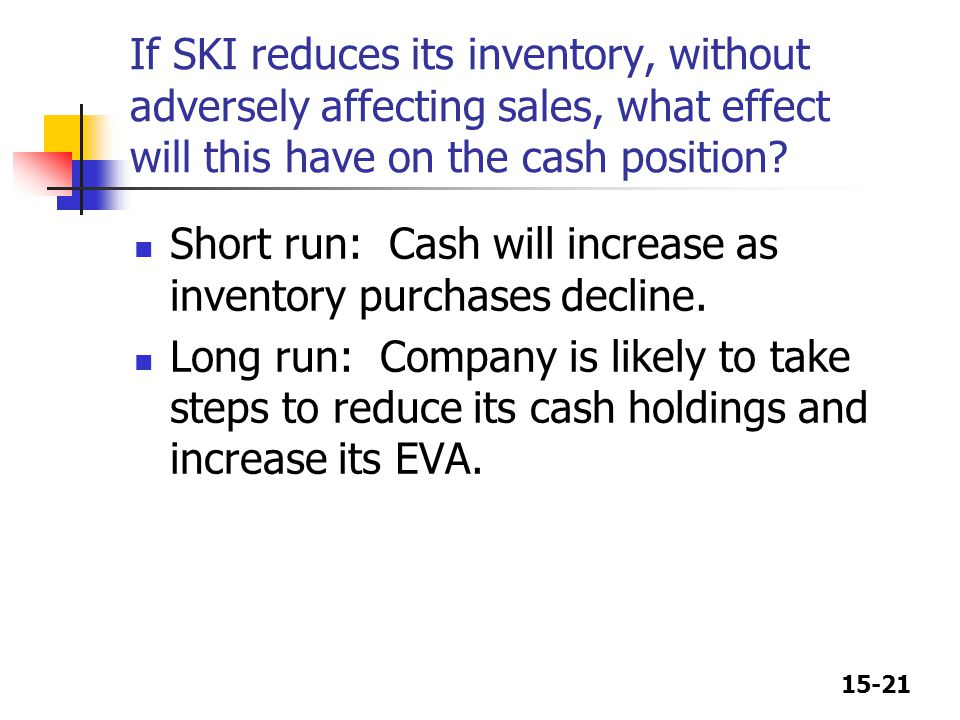 If SKI reduces its inventory, without adversely affecting sales, what effect will this have on the cash position