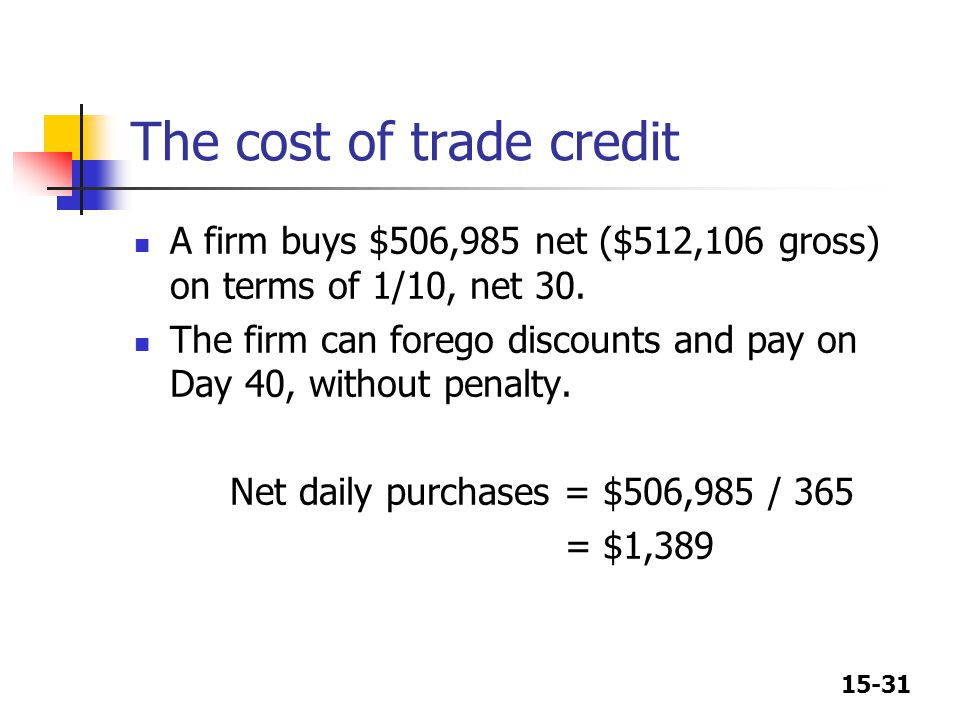 The cost of trade credit