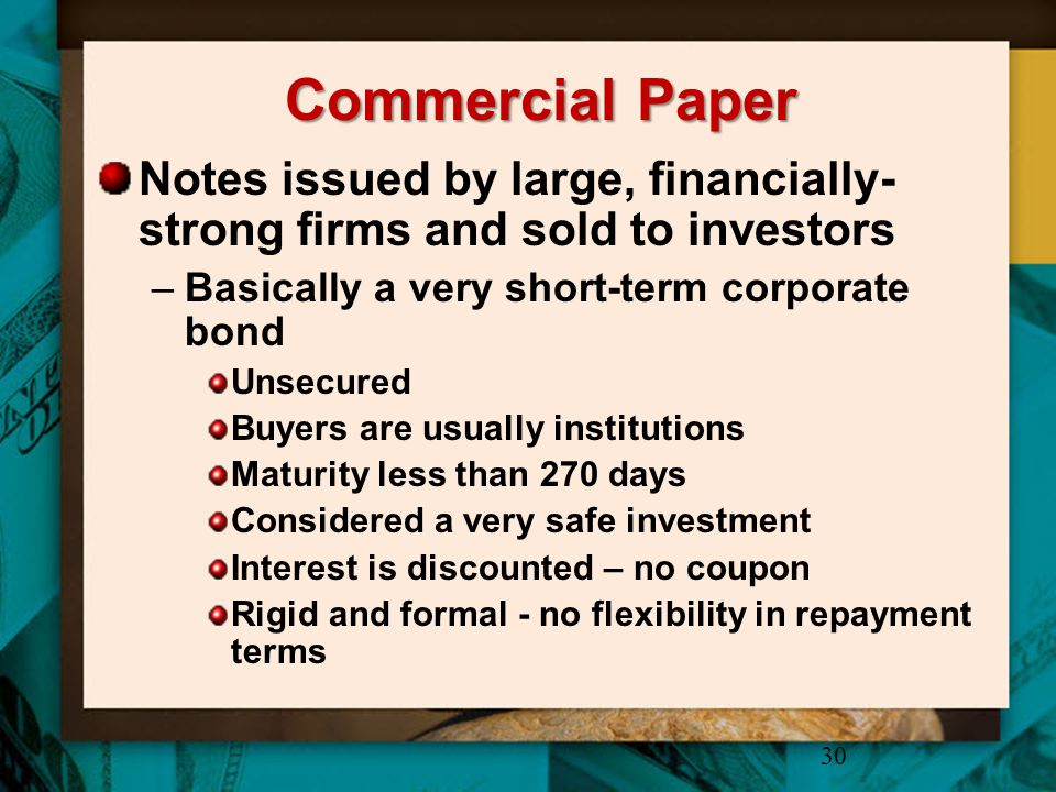 Commercial Paper Notes issued by large, financially-strong firms and sold to investors. Basically a very short-term corporate bond.