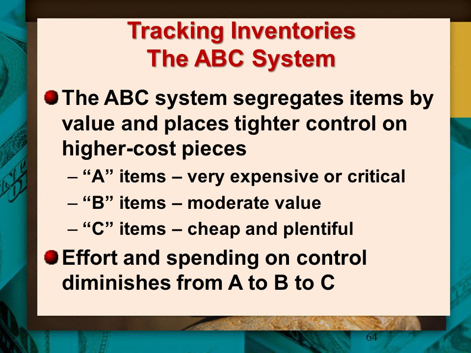 Tracking Inventories The ABC System