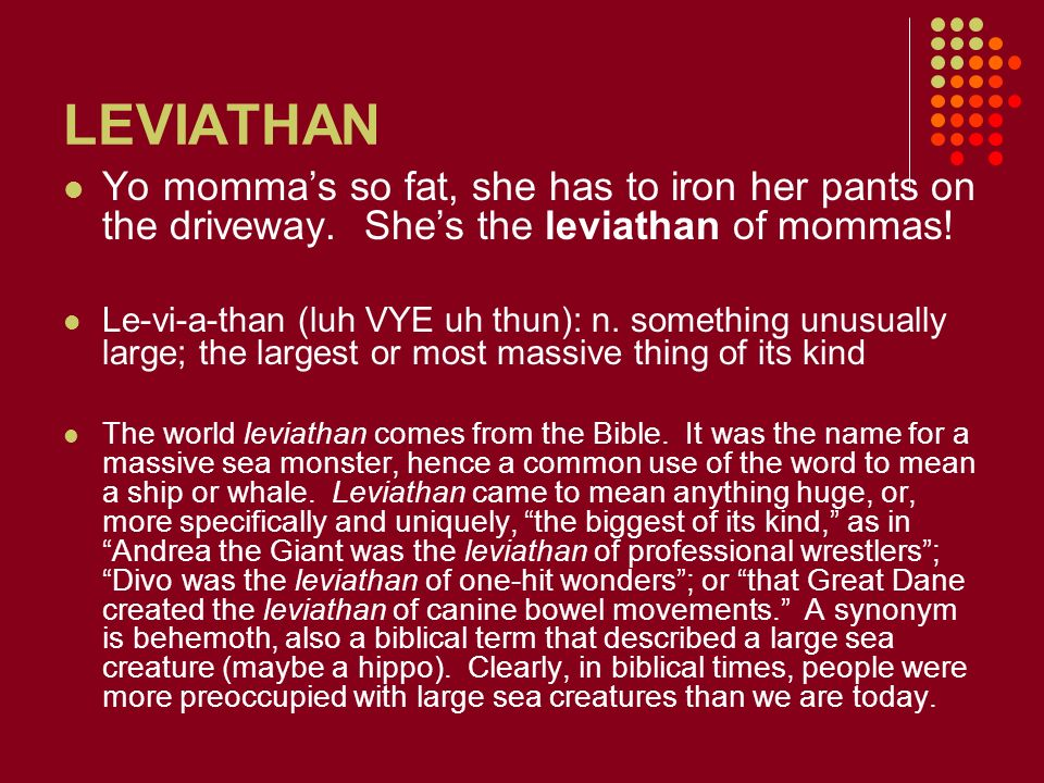 LEVIATHAN Yo momma's so fat, she has to iron her pants on the driveway. She's the leviathan of mommas!