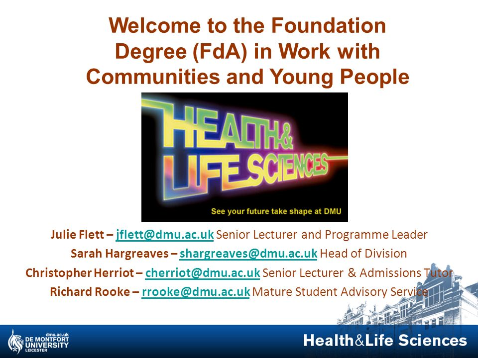 Welcome to the Foundation Degree (FdA) in Work with Communities and Young People
