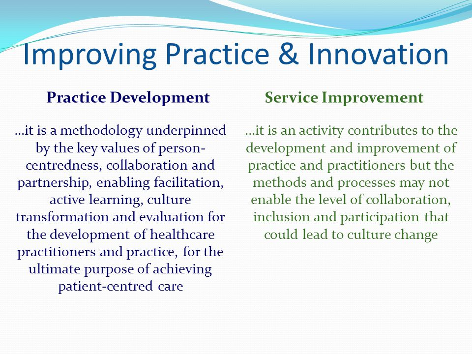 Improving Practice & Innovation