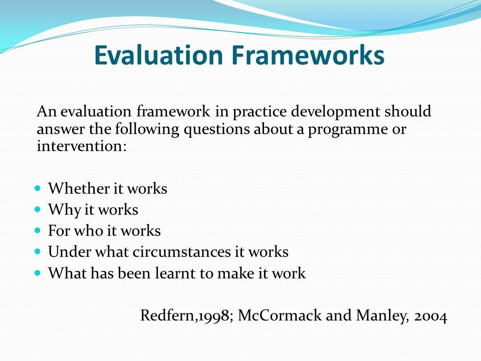 Evaluation Frameworks