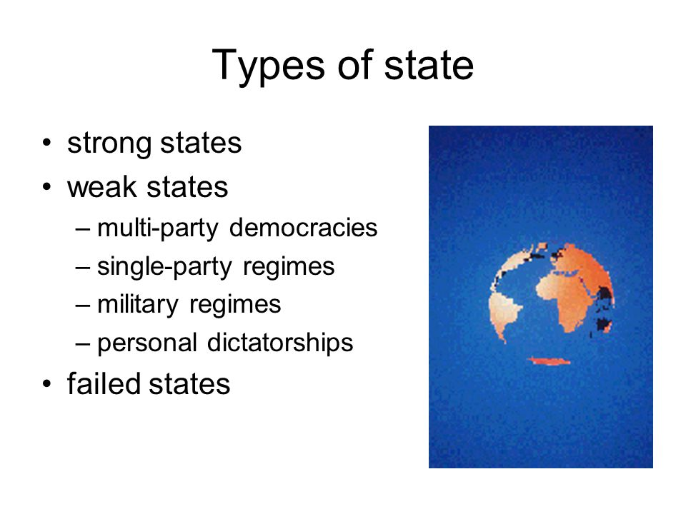 Types of state strong states weak states failed states