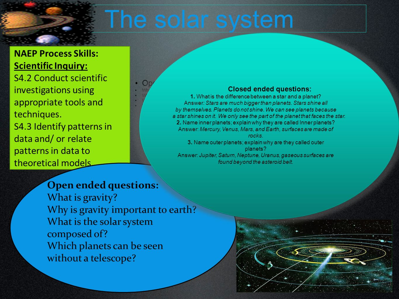 The solar system NAEP Process Skills: Scientific Inquiry: