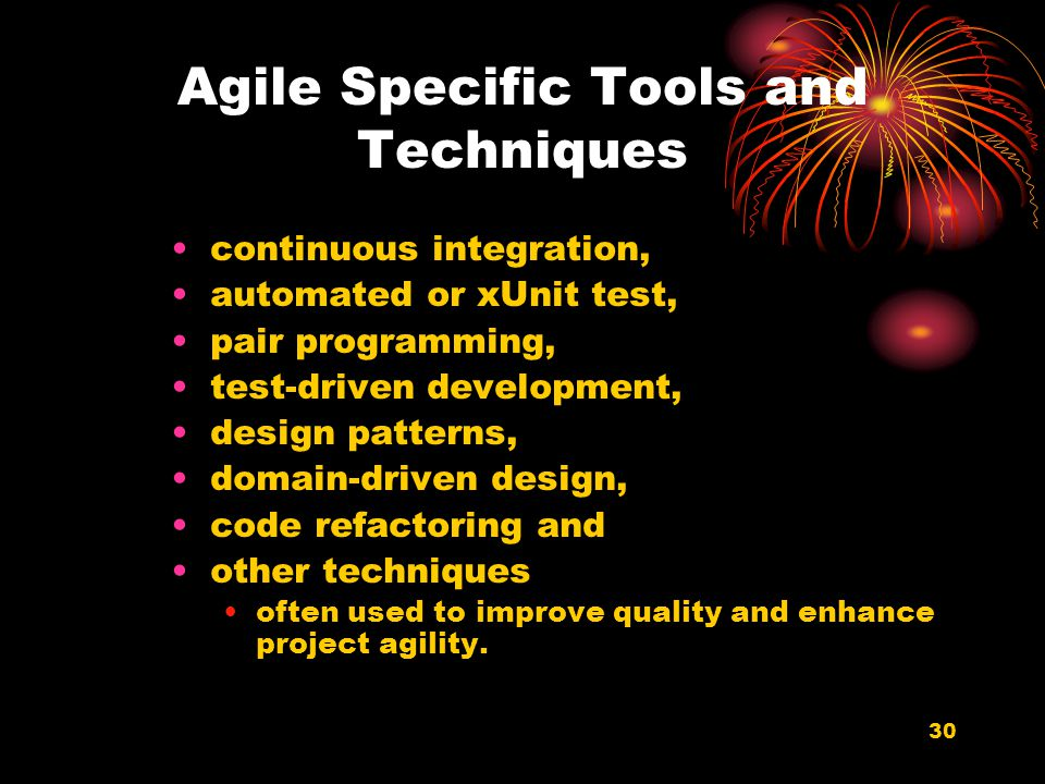 Agile Specific Tools and Techniques