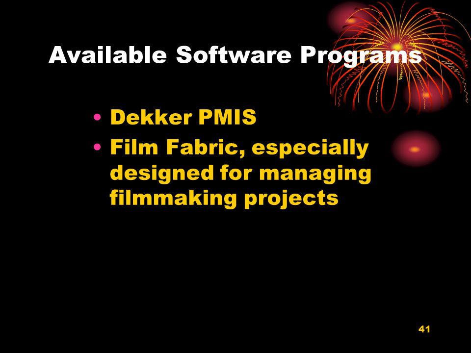 Available Software Programs