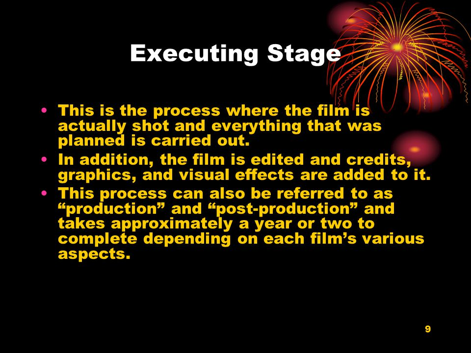 Executing Stage This is the process where the film is actually shot and everything that was planned is carried out.
